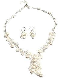 Oi! - N2887/E2887 - Parure Boucles d'Oreille et Collier Femme - Perle/Cristal/Agate - Perle d'eau douce