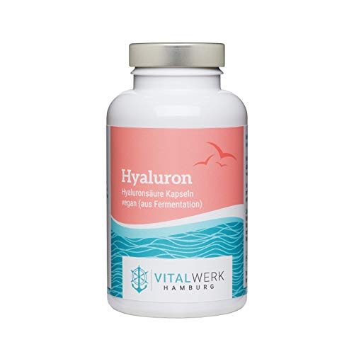 VITALWERK HAMBURG® Hyaluron - 90 vegane Kapseln (für 3 Monate) - 400 mg reines Natrium Hyaluronat - 100% VEGAN, streng kontrolliert und aus DEUTSCHLAND.