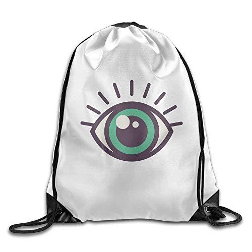 ZHIZIQIU Casual Drawstring Backpack Bag Men Women - Sports Gym Sack Sackpack Yoga Dance Travel Daypack - (Big Purple Green Eyes) -