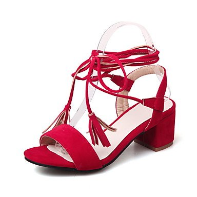 LvYuan Sandalen-Büro Kleid Lässig-Vlies-Blockabsatz-Gladiator Club-Schuhe-Schwarz Rot Beige Red
