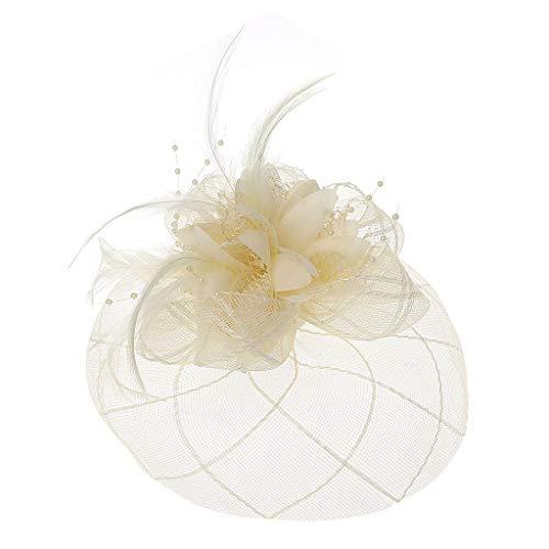 Manyo Womens Barrette Fascinator Blume Pillbox Hut Perlen Feder Haarspange Hochzeit (Gold)