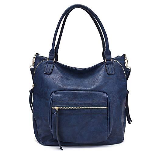XHLLX Handtasche Frauenstil, Freizeit Hohe Kapazität Tragbar Und Schräg Multifunktion Pu-Leder Anwendbar Einkaufen Zusammenkommen Arbeitsplätze Schule,Blue