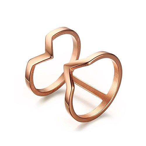 BOBIJOO Jewelry - Bague Alliance Double Anneau Doré Or Rose Fine Design Acier Infini Inoxydable - 56 (7 US), Doré Or Fin Rose - Acier Inoxydable 316