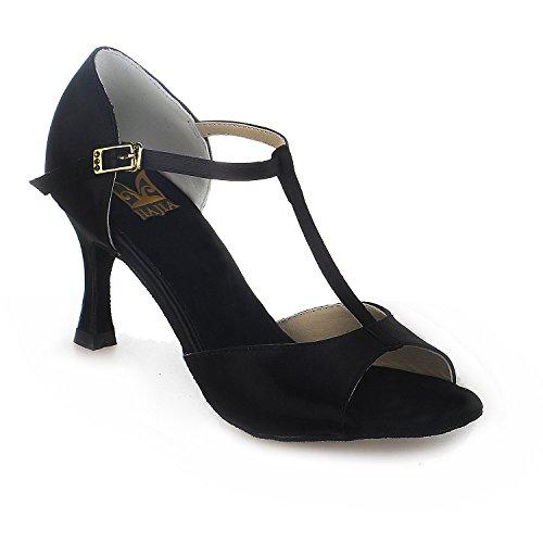 Jia Jia 20511 Damen Sandalen Ausgestelltes Heel Super-Satin Latein Tanzschuhe Schwarz , 35