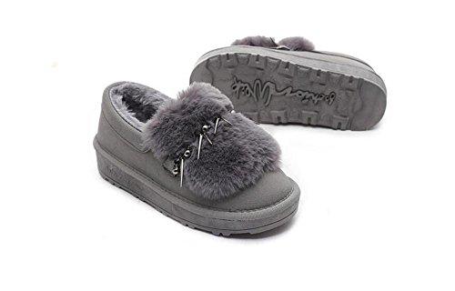 ZZHH Slip Duantong épaisse bottes de neige en peluche mat chaussures plates gray