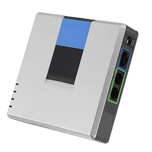 Diyeeni 2-Port VoIP-Telefonadapter, VoIP-Gateway Internet 2-Port-Analogtelefonadapter VoIP-Telefon & Gerät mit SIP-RJ45-Kabel für Linksys PAP2T (EU)