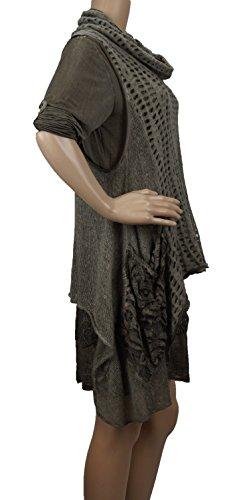 Tunique avec ourlet en dentelle, 2pièces, One Size (Taille 36à 42) Marron - Taupe