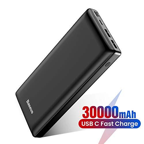 Power Bank Externer Akku 30000 mAh, Baseus USB C Schnelles Aufladen Tragbares Ladegerät für iPhone, iPad, Mac, Kompatibel mit Samsung, Huawei und mehr (Schwarz)