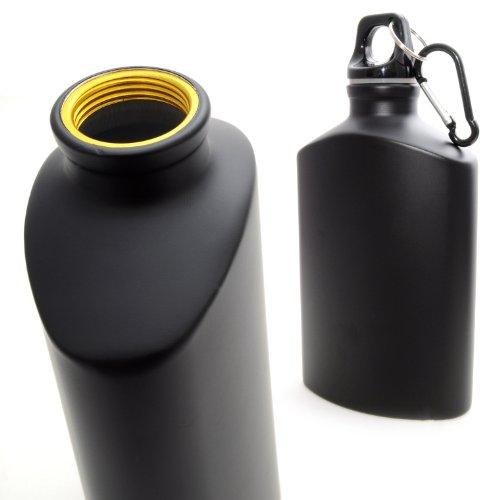 Trinkflasche aus Aluminium, Alu Travel Bottle mit Karabiner, Fahrradflasche, Farbe: schwarz / matt - Marke Ganzoo