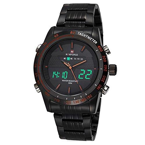 Sport Herrenuhren Quarzuhr Luxus Edelstahl Uhrenarmband Analog-Digital LED Kalender Lässige Armbanduhren für Herren,Schwarz-Orange