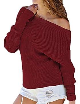JackenLOVE Otoño y Invierno Mujeres Jerséis Moda Sweaters Jumper Remata Blusa Sexy Cuello Barco Manga Larga Suéter...