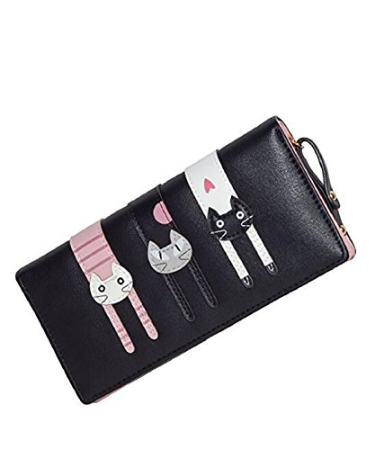 Womens-Cute-CatCard-Holder-Purse-Wallet-Bifold-Long-Purse-with-Zipper