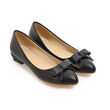 Confortevole ed elegante piatto scarpe donna Appartamenti Primavera Estate Autunno Inverno altri PU Office & Carriera Abito casual nero Bowknot di mandorle bianche Black