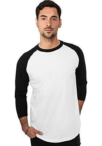 Urban Classics Herren Shirt 3/4-Arm Contrast white/black S - 3/4 Sleeve Shirt