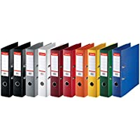 Esselte 624177 - Archivadores de anillas (lomo estándar de 75 mm, 10 unidades), diferentes colores