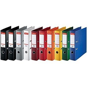 Esselte lot de 10 Classeurs Couverture Plastique, A4, Dos 7,5cm, Couleurs Assorties, Standard, 624177