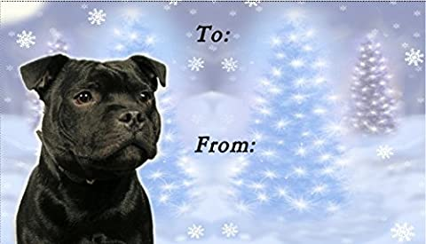 Staffordshire Bull Terrier Dog No. 2. Christmas Labels (42) -