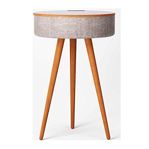 YONGYONG-Footstool Smart Couchtisch Bluetooth Lautsprecher Kleine Runde Tisch Mini Nachttisch Einfache Sofa Wohnzimmer Telefon Tisch Massivholz Beistelltisch 40 * 40 * 60 cm (Farbe : Walnut Farbe) (Telefon-beistelltisch)