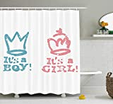 MSGDF Gender Reveal Shower Curtain, Girl Queen Boy King Crown in Pastel Colors Cute Children Kids Theme, Fabric Bathroom Decor Set with Hooks, 60 X 72inch, Pale Pink and Blue