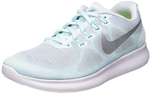 Nike Damen WMNS Free RN 2017 Laufschuhe Blau (Glacier Pure Platinum/polarised Blue/metallic Silver 402), 37.5 EU