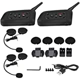 2 Set V6 Pro 1200M Interphone Cuffie interfoniche Bluetooth, 6 motociclisti Casco moto Auricolare interfono Bluetooth(2 sets)