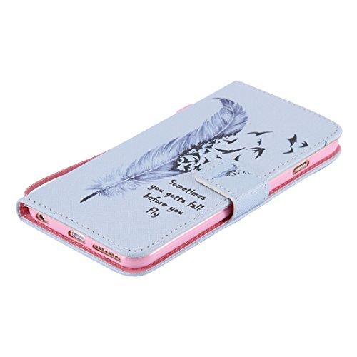 Ekakashop Apple iPhone 6 Plus/6s Plus 5,5 Zoll Hülle (Weiß), iPhone 6s Plus Tasche mit Taljereep, Zeichnung Drucken Katzen und Baum Muster Bunte PU Leder Schutzhülle Tasche Hüllen Magnetverschluss Han Sprüche Feather