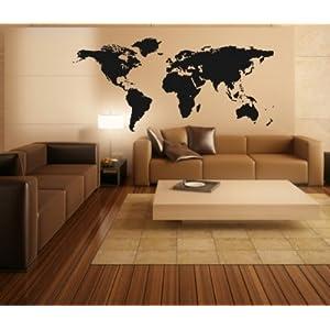 Stickerkoenig 'Design König XXL pared adhesivo Mapa del Mundo–World Map II–Vinilos para pared diseño detaill II (tamaño: 140x 73cm)