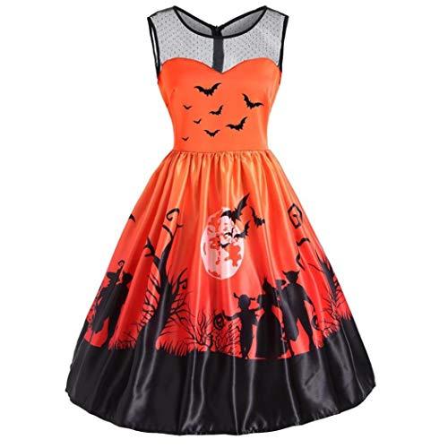 URSING Damen Kleider Frauen Vintage O-Ausschnitt Drucken Rockabilly Kleid Festliches Kleid Retro Ärmelloses Halloween Kostüm Party Swing Kleid Partykleid Abendkleid Minikleid(Orange,S)