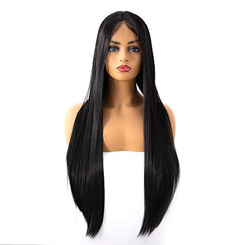JFNX Perücke Schwarz Lang Glatt Damen Echthaar Lange Perücke Perrücke Frauen Lace Front Wig Human Hair 100% Echthaar Perücke Mittel Remy Hair Wig,Black,26 (Schwarze Echthaar Perücken)