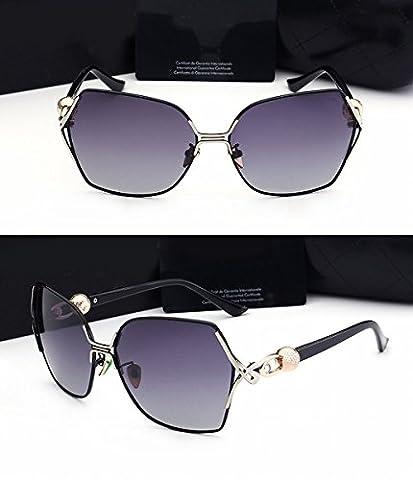 Ladies Large Frame Sunglasses White Elegant Round Face Frog Mirror Diamond Polished Light Mirror Black Frame