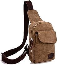 Men Women Shoulder Crossbody Chest Bag Classic Sling Slim Backpack Multipurpose Daypack Brown