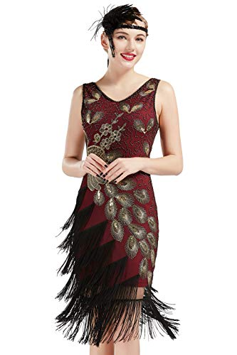 d Damen Pfau Flapper Charleston Kleid V Ausschnitt Great Gatsby Motto Party Damen Fasching Kostüm Kleid (Weinrot Gold, S) ()