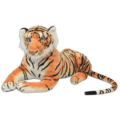Galapara Tiger Kuscheltier XXL | Tiger-Form Plüschtier 146 x 40 cm Stofftier Plüsch Kuscheltier Spielzeug als Geschenk für Kinder - Braun