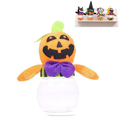 FOONEE Candy Jar mit Deckel, Halloween transparent Cookie Jar, Kinder Puppe Candy Aufbewahrung Dosen Halloween Dekoration Pumpkin 15 * 9cm