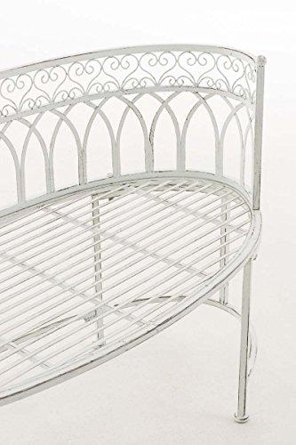 CLP Metall-Gartenbank AMANTI mit Armlehne, Landhaus-Stil, Eisen lackiert, Design antik nostalgisch, Form oval ca. 110 x 55 cm Antik Weiß - 6