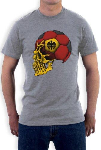 Deutschland Cooler Fanartikel Fußball EM 2016 Schädel T-Shirt Grau
