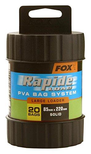 Fox Rapide Load PVA Bag System, Wasserlösliche Beutel und Befüllungshilfe zum Anfüttern auf Karpfen, Karpfenköder, Variante:PVA Loader kit XL(20 Bags 75x175mm + Tool) - Abgs-system