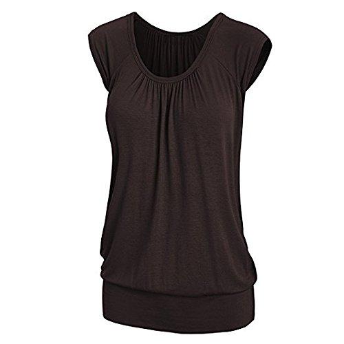 Kobay Damen Tops GroßE GrößEn Sommer Casual Bluse Rundhals Kurzarm T-Shirt(S,Braun)
