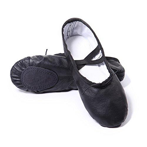 DoGeek Gute Qualität Ballettschuhe Echtes Leder Balletschläppchen Weich Ballet Trainings Schläppchen Schuhe mit Gummibänder für Mädchen/Damen in Den Größen 26-40 (Schwarz) (Leder Gutes)