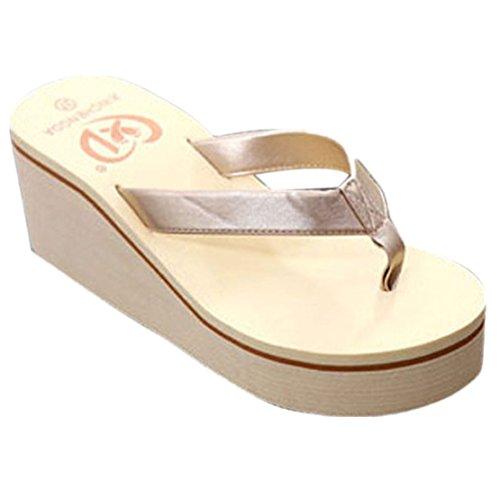 Internet Damen Sandalen Sommer Böhmen Sweet (EU36 , Gold) (Kleid Schuhe Wohnungen)