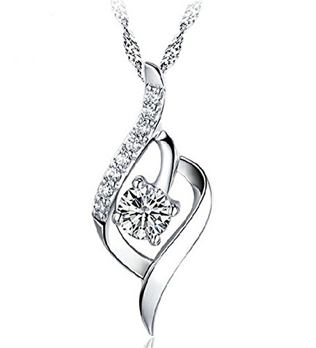 - 416uliNvokL - 925 Sterling Silver Statement Crystal Pendant Necklace for Women Fashion Jewelry Accessories