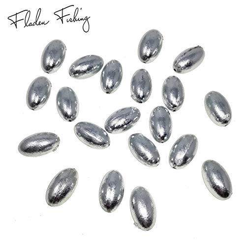Fladen Angeln - 20 Stück Bullet Ungiftig gebohrt in Schnur, erhältlich in 4 g, 6 g, 10 g, 13 g, 18 g, 25 g und 30 g, ideal für Tote Köder, Hechtpose Angeln, Silbergrau, 10g / 0.35oz
