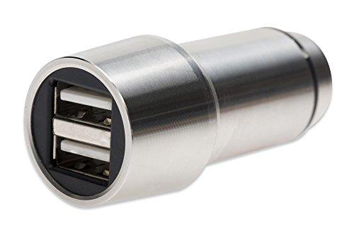 ednet 84120 USB Kfz-Ladeadapter, Eingang 10.5-18 Volt, 2 Ports (5V/2,4A), Vollmetall, Notfallhammer