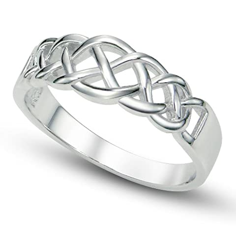 925 Sterling Silver Celtic Knot Band Ring Sz 7 - UK Size: N
