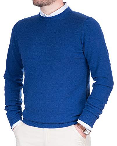 Maglione uomo puro cashmere 100% lana pullover a manica lunga con girocollo soffice e morbido (48 m, light blu)