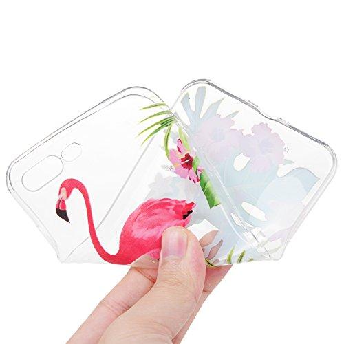 MAXFE.CO TPU Silikon Hülle für iPhone 7 Plus (5,5 Zoll) Handyhülle Schale Etui Protective Case Cover Rück mit Schwarze Katze-Kopf Skin Aquarell Design Flamingo