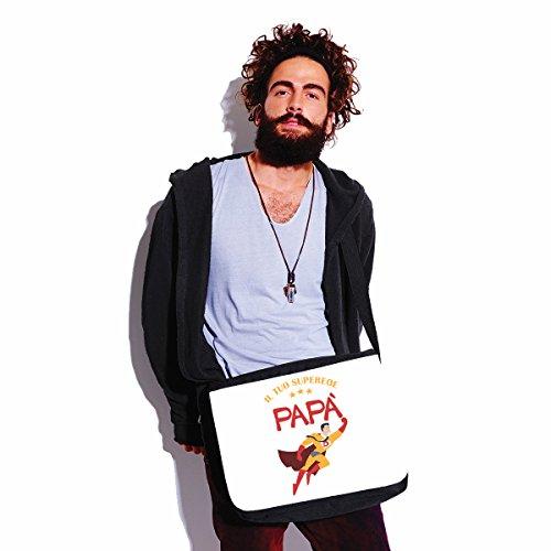 Borsa a tracolla Festa del Papà - Papà il tuo supereroe - humor - happy fathers day - idea regalo - - dimensioni 35x30x11,5 cm Bianco