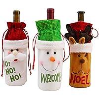 YOU+ 3 Pack Navidad Santa Claus Botella de Vino Tinto Bolsa Cap Linda Navidad Tinto Bolsa