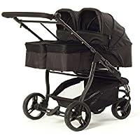 Baby Monsters Silla gemelar EASY TWIN 2.0 + 2 Capazos Color Negro + Regalo de un bolso de Polipiel(Danielstore)