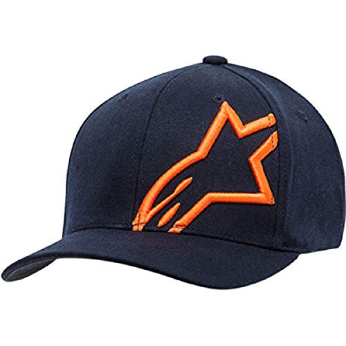 Alpinestar Corp Shift 2 Gorra Flexfit Visera Curva Logo Bordado 3D, Hombre, Navy/Orange, LXL